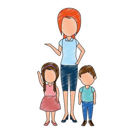 beautiful teacher female with students avatars characters vector illustration design Illustration