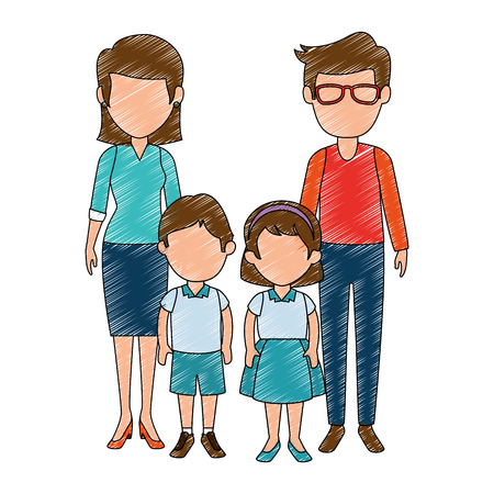 teachers couple with students avatars characters vector illustration design