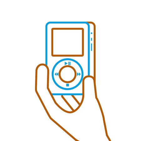 hand holding mp player gadget display modern technology vector illustration Illusztráció