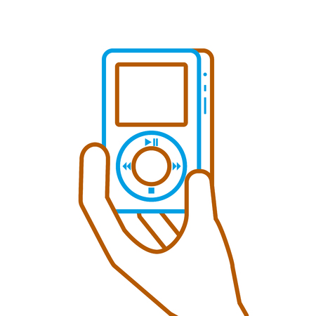 mp プレーヤー ガジェット表示現代技術ベクトル図を持っている手  イラスト・ベクター素材