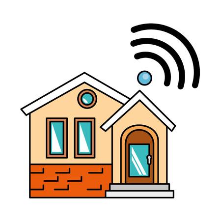 front of smarthouse with wifi signal vector illustration design