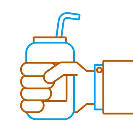 hand holding drink energy can straw vector illustration Banco de Imagens - 89847872