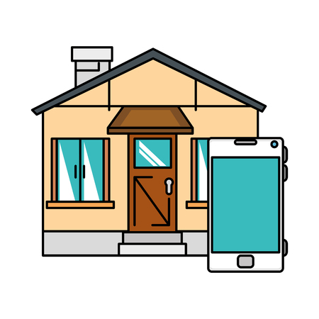 front of smarthouse with smartphone vector illustration design Çizim