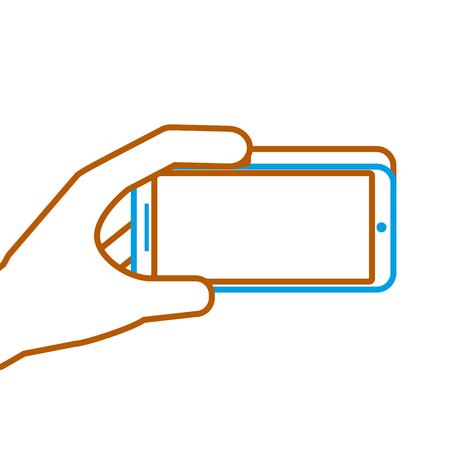 손을 잡고 휴대 전화 가제트 디지털 벡터 일러스트 레이션 일러스트