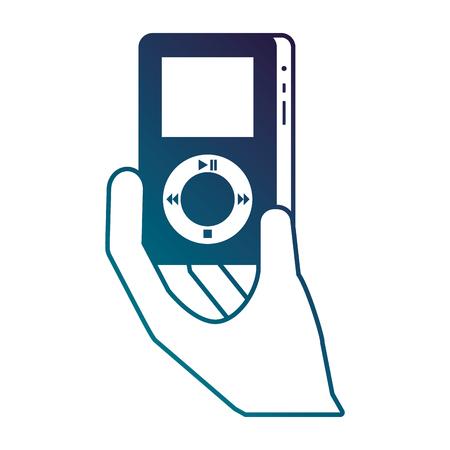 hand holding mp3 player gadget display modern technology vector illustration 向量圖像