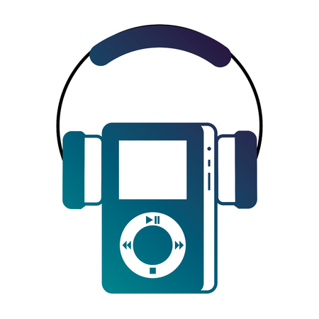 multimedia mp3 player and headphones display button vector illustration