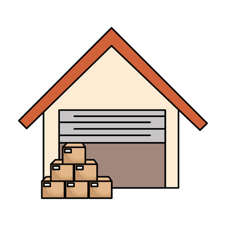 Construction d'entrepôt avec des boîtes vector illustration design Banque d'images - 89850939