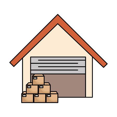 magazijn gebouw met vakken vector illustratie ontwerp