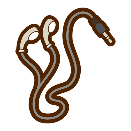 earphones plug multimedia music cable vector illustration