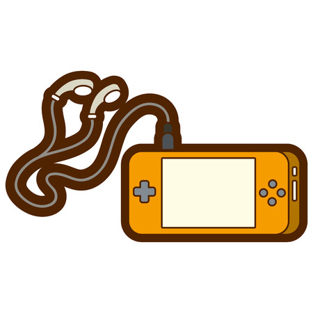 portable audio: portable video game console with earphones for fun gadget vector illustration