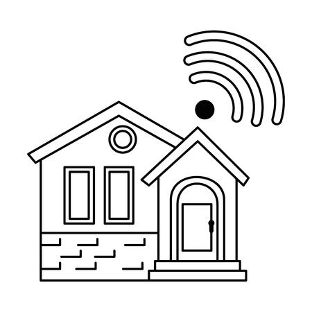 voorzijde van smarthouse met vector de illustratieontwerp van het wifisignaal