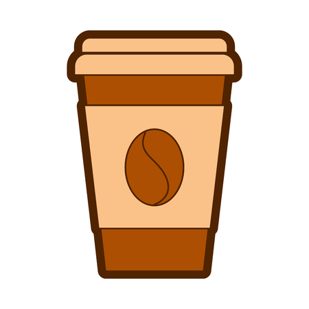 paper coffee cup bean fresh beverage vector illustration Ilustração