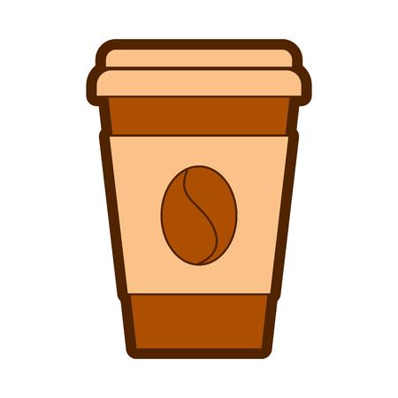 paper coffee cup bean fresh beverage vector illustration Illustration