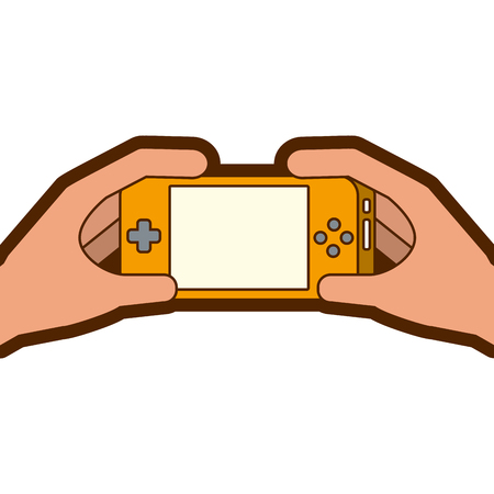 hands holding mobile game console gadget vector illustration