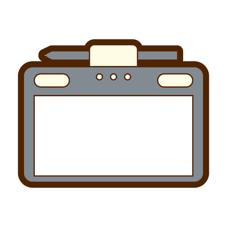 graphic tablet with pen digital work equipment gadget digital vector illustration Stock Vector - 89851304