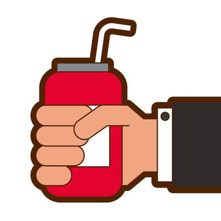 Hand hält trinken Energie kann Stroh Vektor-Illustration Standard-Bild - 89855425