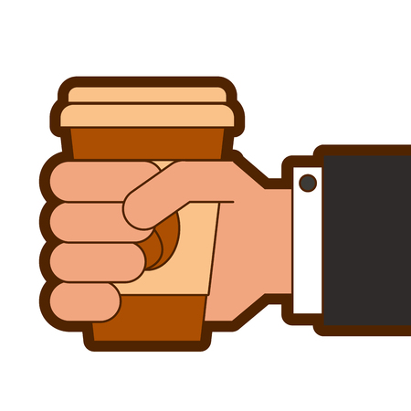 hand holding takeaway coffee cup fresh drink vector illustration