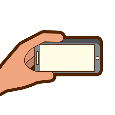 hand holding mobile phone gadget digital vector illustration