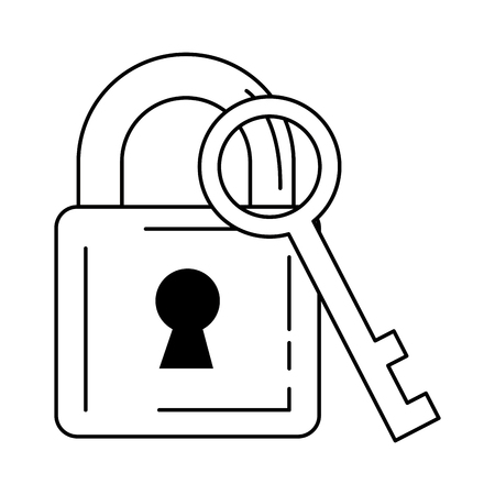 safe padlock with key vector illustration design Stock Vector - 89851446