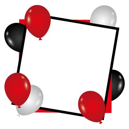 Plantilla de cumpleaños con globos voladores y la ilustración de vector de papel vacío Foto de archivo - 89851518
