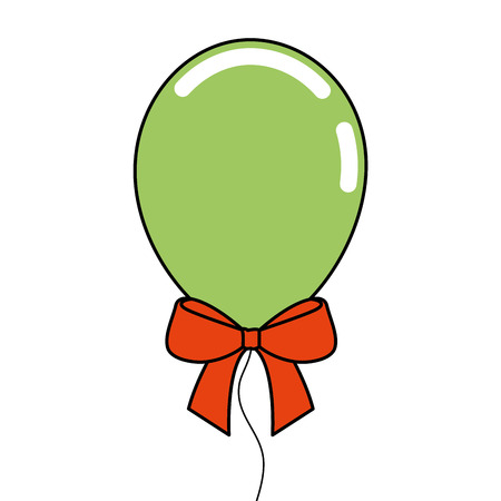 decoration celebration balloon with bow ornament vector illustration