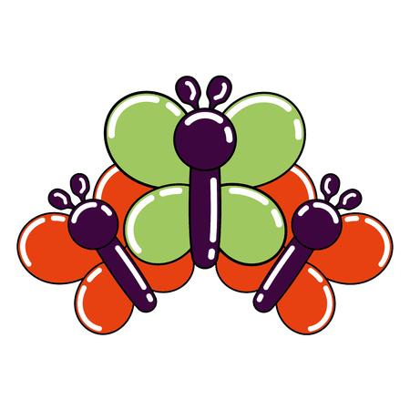 ballonnen vormige drie vlinder decoratie festival vector illustratie Stock Illustratie