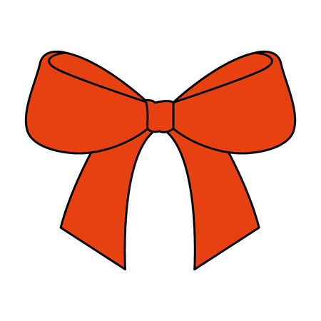 cute bow ribbon tied decoration ornament vector illustration
