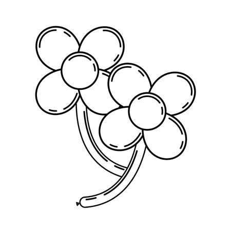 꽃잎과 줄기 벡터 일러스트와 함께 두 개의 꽃 모양에 풍선