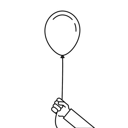 man holding in hand a balloons on a ribbon vector illustration