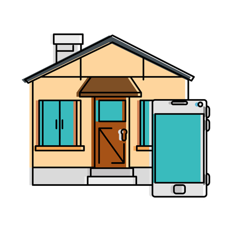 front of smarthouse with smartphone vector illustration design Иллюстрация