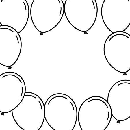 balloons frame decoration ready for posters and cards vector illustration