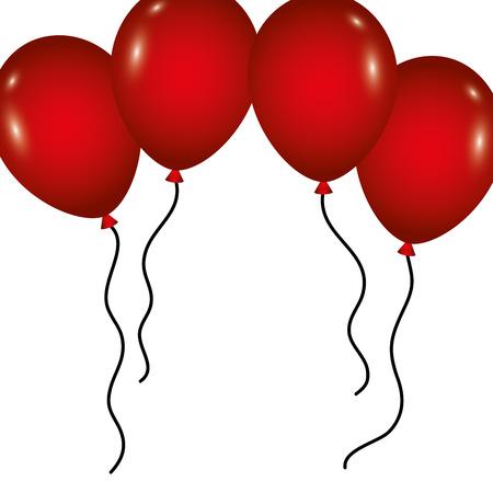 風船でフレーム誕生日のデコレーションお祝いのベクトルイラスト