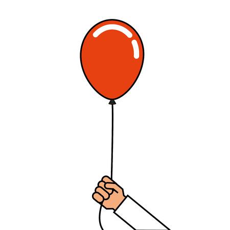 Hombre sosteniendo en la mano un globos en una cinta vector illustration Foto de archivo - 89854052