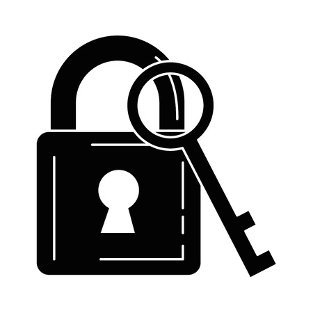 safe padlock with key vector illustration design