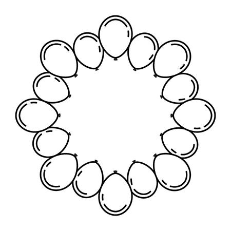 lovely balloons circle trendy ideal for celebration festive vector illustration