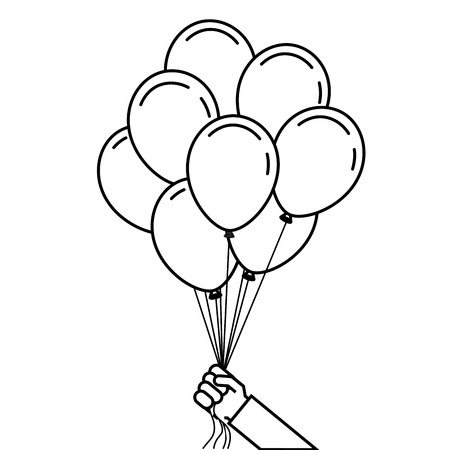 hand holds bunch of brightly helium balloons vector illustration