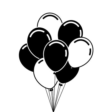 Manojo de globos de cumpleaños para la ilustración de vector de fiesta y celebraciones Foto de archivo - 89854209