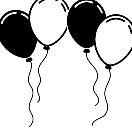 frame with balloons birthday decoration festive vector illustration Illustration