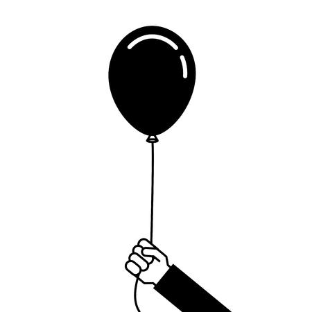 Homem segurando na mão um balão em uma ilustração vetorial fita Foto de archivo - 89854399