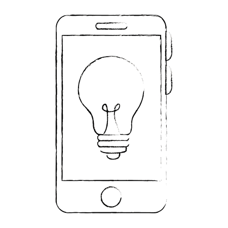 smartphone device with bulb vector illustration design Stock Vector - 89854449
