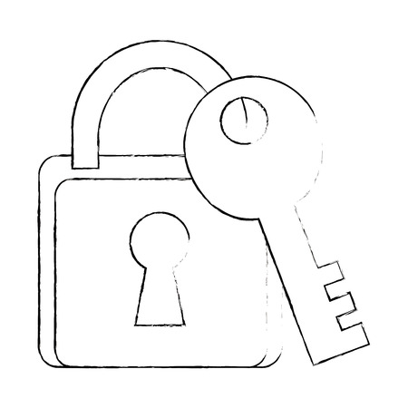 safe padlock with key vector illustration design