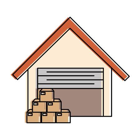 Lagergebäude mit Kästen vector Illustrationsdesign Standard-Bild - 89854658