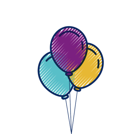 three balloons inflatable party decoration vector illustration
