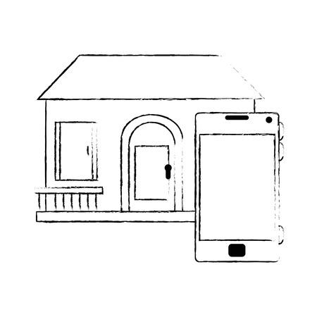 Frente de smarthouse com design de ilustração vetorial de smartphone Foto de archivo - 89854715