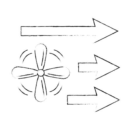 Fan mit Pfeilen isoliert Symbol Vektor Illustration design Standard-Bild - 89855683