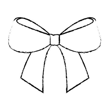 schattig boog lint gebonden decoratie ornament vectorillustratie Stock Illustratie