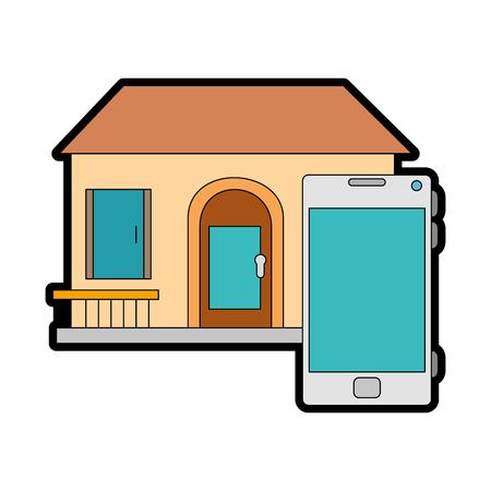 Frente de smarthouse com design de ilustração vetorial de smartphone Foto de archivo - 89854902