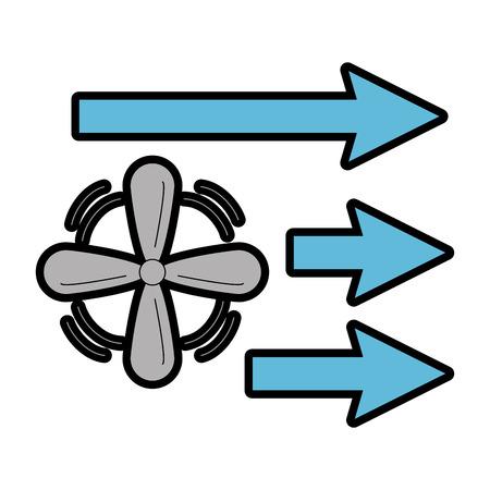 Ventilador con diseño de ilustración de vector icono de flechas aislado Foto de archivo - 89854913