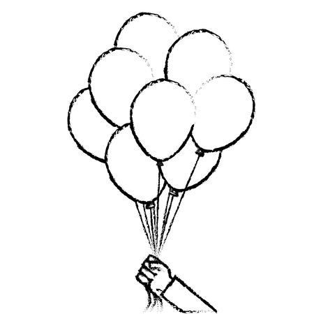 鮮やかなヘリウム風船ベクトル図の束を保持する手  イラスト・ベクター素材