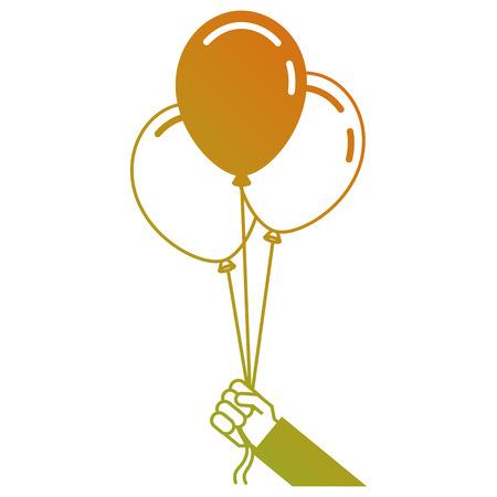 event party: cartoon hand holding three balloons celebration event vector illustration